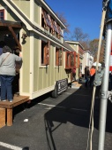 Looking down a row of tiny houses.
