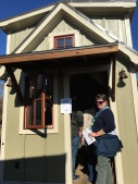 Deb waiting in line for this tiny home. Very nice inside.