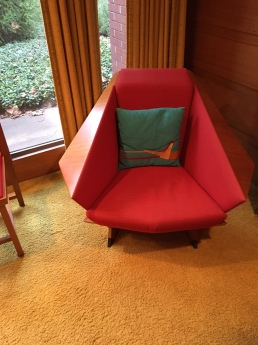 An iconic Wright chair in the guest bedroom.